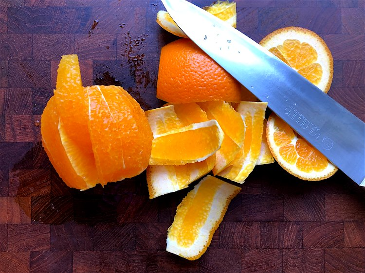Image of Remove any pith you missed and then slice close to...