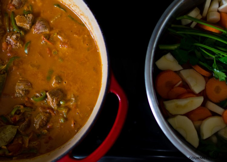 Image of Add the root vegetables (carrots, parsley, celeriac and potatoes) and...