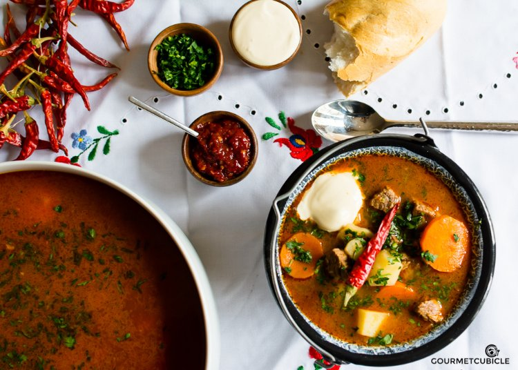 Image of Serve goulash hot with fresh bread. You can sprinkle with...