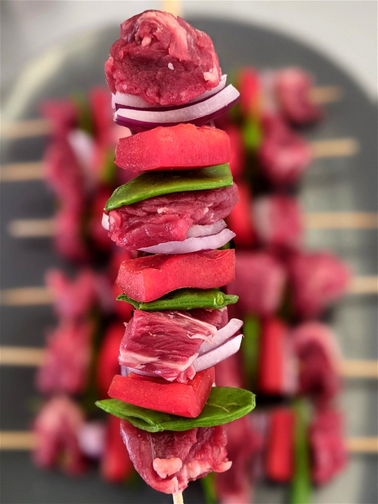 Image of Start building your kebabs, we recommend adding each item evenly...
