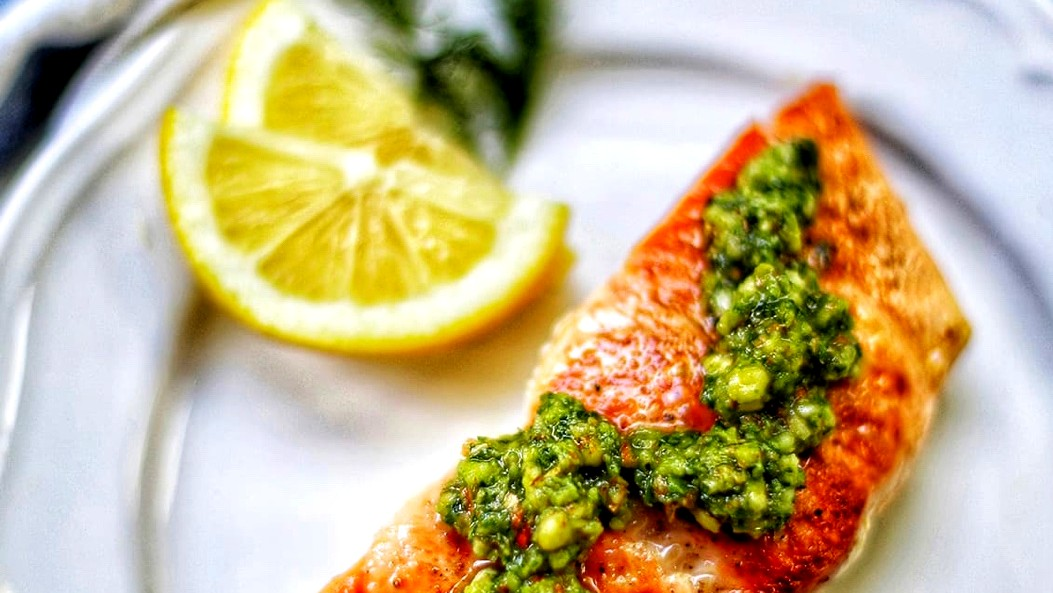 Image of Pan-Seared Salmon with Almond Basil Pesto by UrbanBlissLife