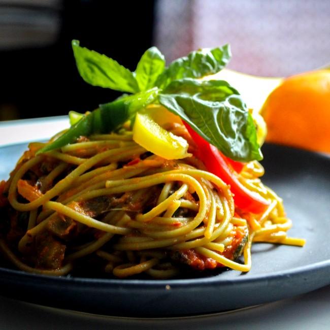Image of Spaghetti with Sautéed Eggplant