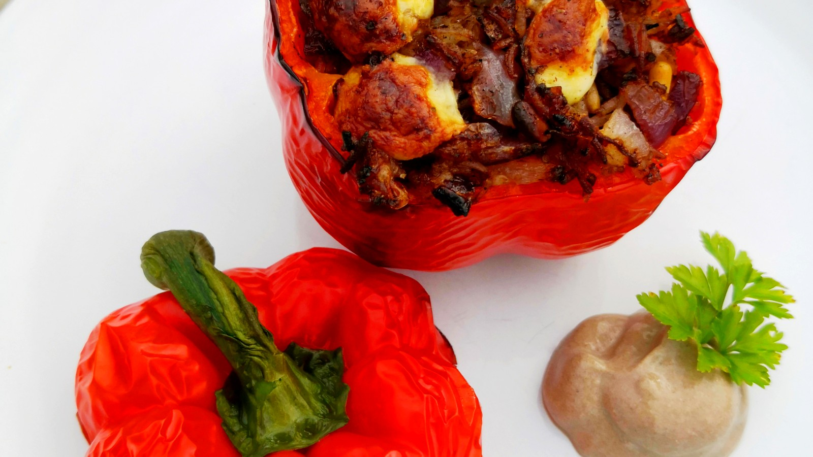 Image of Stuffed Capsicum with Black Garlic Rice