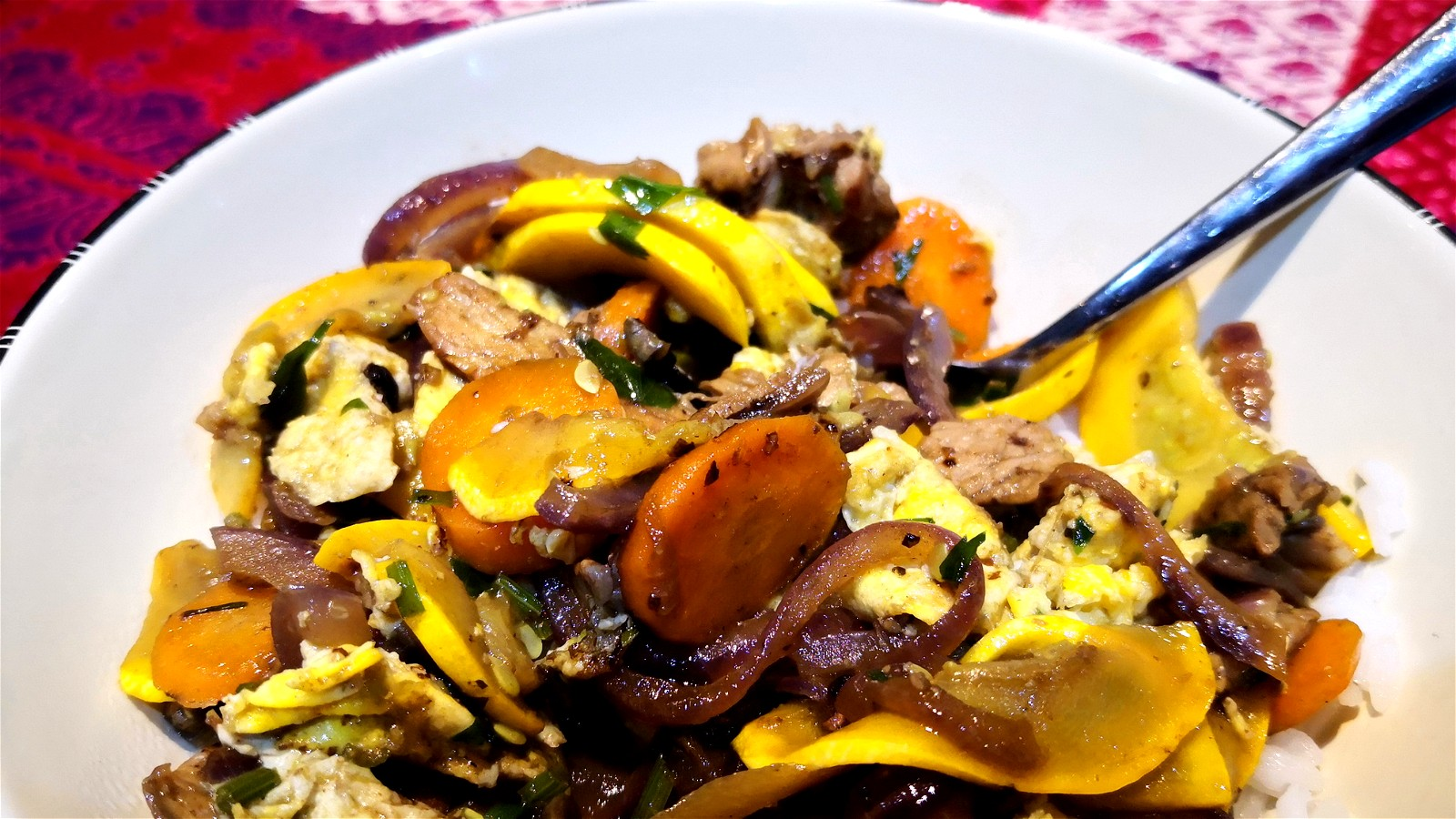 Image of Vegetable Stir Fry with Black Garlic Puree