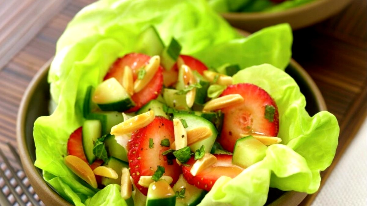 Image of Strawberry Cucumber and Almond Salad in Lettuce Cups