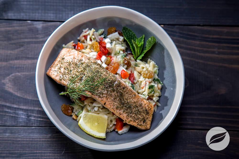 Image of Broiled Salmon with Greek Orzo Salad