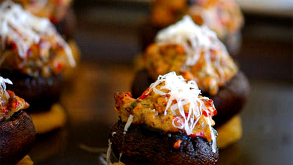 Image of Stuffed Mushrooms with Polenta Rounds