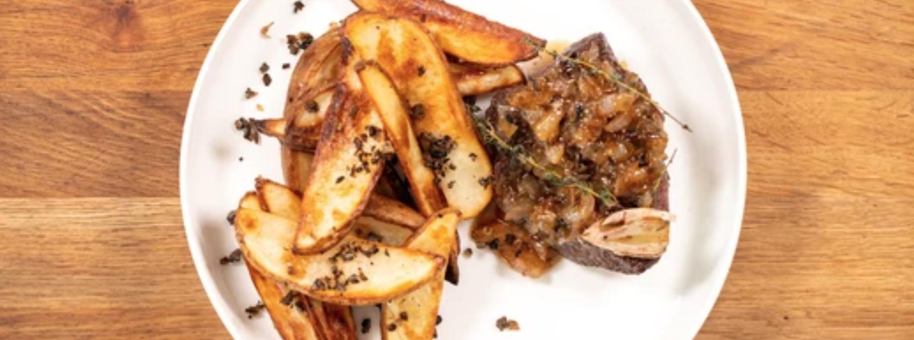 Image of Flat Iron Steak Frites with Truffle & Caramelized Onion Jam