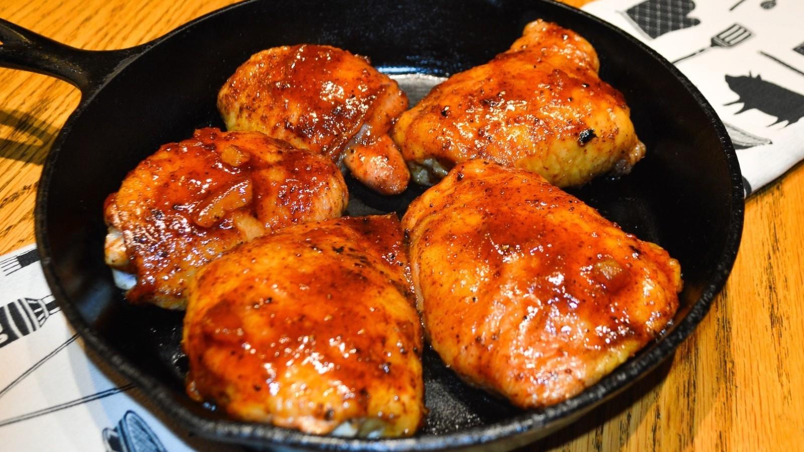 Image of Chipotle Orange Glaze Smoked Chicken Thighs