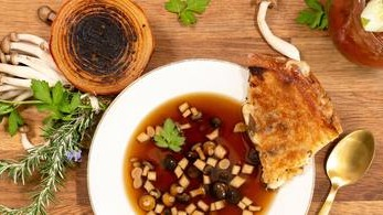 Image of Truffle Grilled Cheese and Porcini Consommé