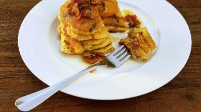 Image of Cheddar And Corn Pulled Pork Pancakes With Jalapeno-Bacon Syrup