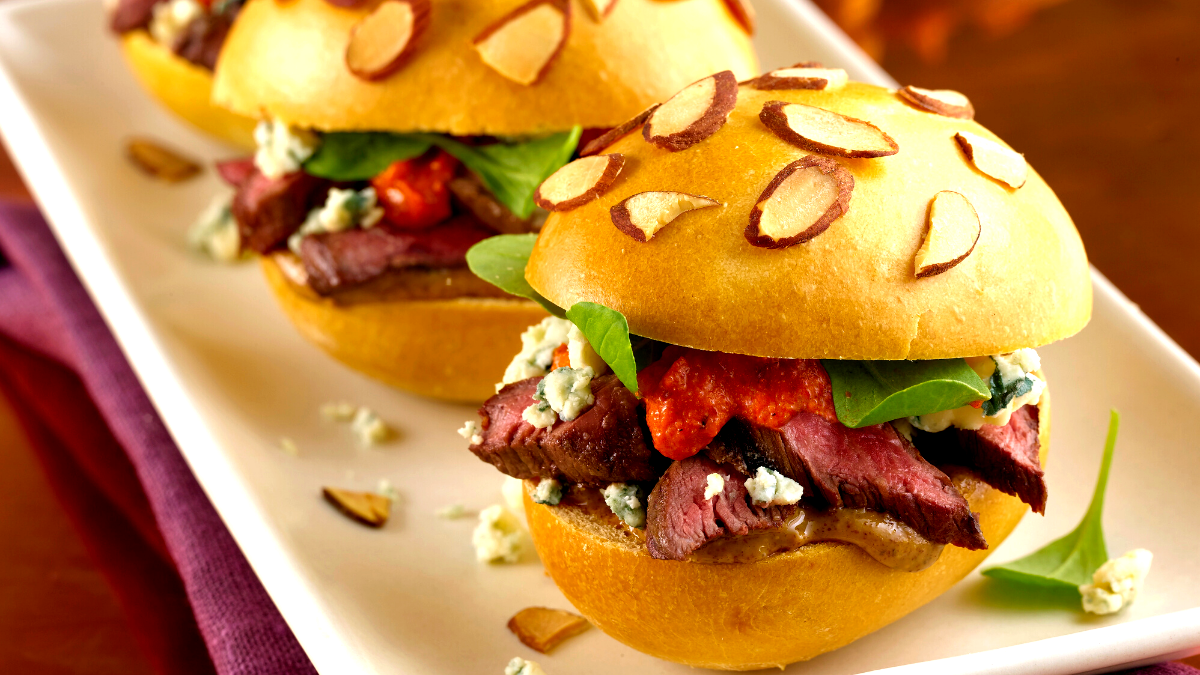 Image of Grilled Skirt Steak Sliders with Smoked Almond Romesco