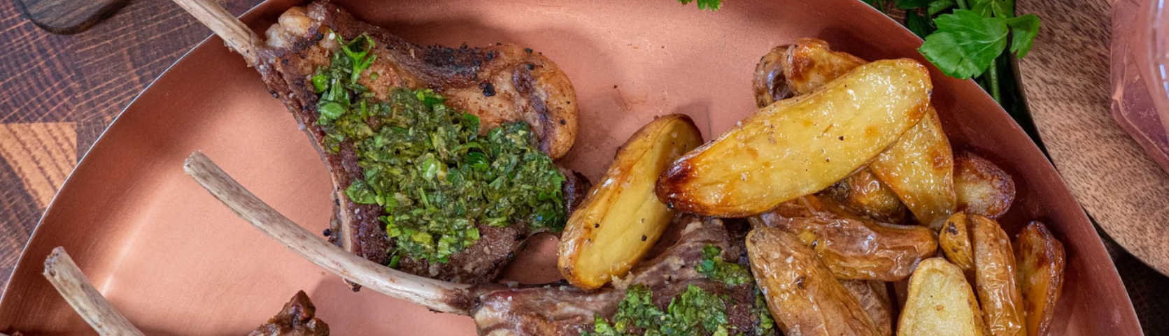 Image of Spring Lamb Chops with Truffle Roasted Fingerling Potatoes