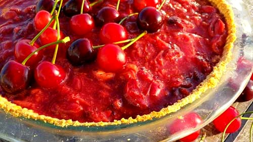 Image of Sour and Sweet Cherry Cheesecake Pie