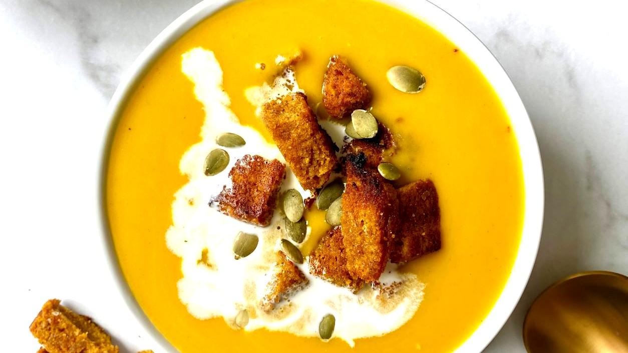 Image of Butternut Squash & Pumpkin Soup with Keto Pumpkin Bread Croutons