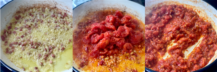 Image of Add the Pizza Posto, peperoncini, and tomato dice and simmer...