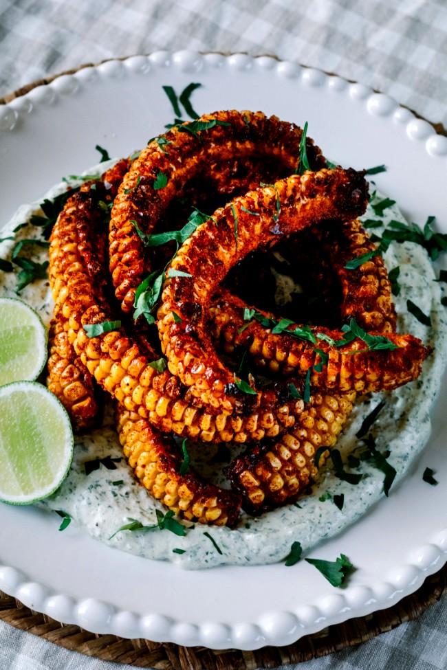 Image of Spicy Corn Ribs With Coriander Cream
