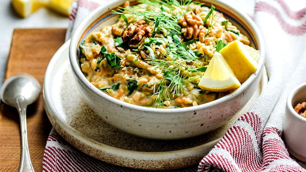 Image of Rissini-Risotto with walnuts, spinach and lemon