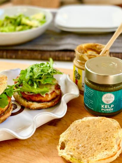 Image of Salmon Burgers on English Muffins with Kelp Lime Sauce