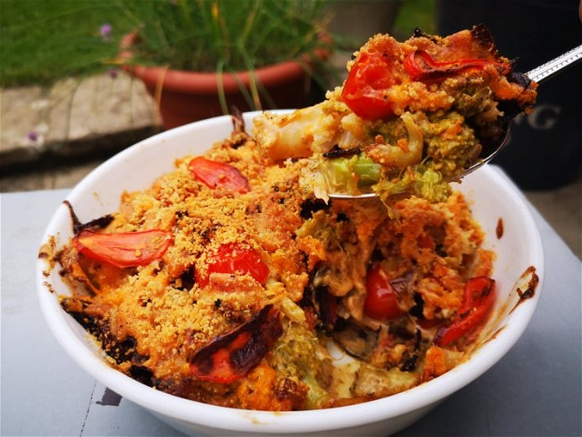 Image of Broccoli & Cauliflower Cheesy Bake 4 ways - Chorizo & Tomato