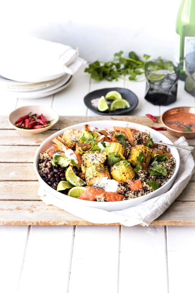 Image ofMexican chia and quinoa salad with sweet potato chips