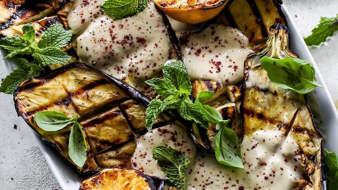 Image of Grilled Eggplant with Garlicky Tahini Yogurt Sauce