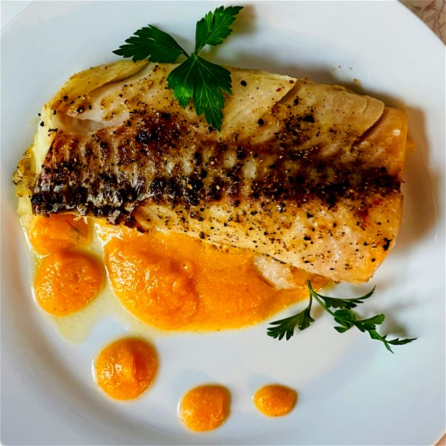 Image of wild alaskan cod with peach & pineapple chili sauce