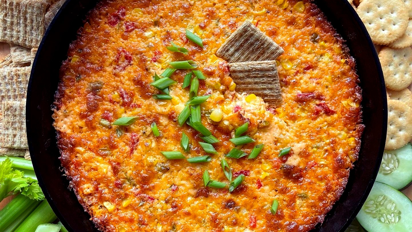 Image of Cheesy Baked Pimento, Corn and Lobster Dip
