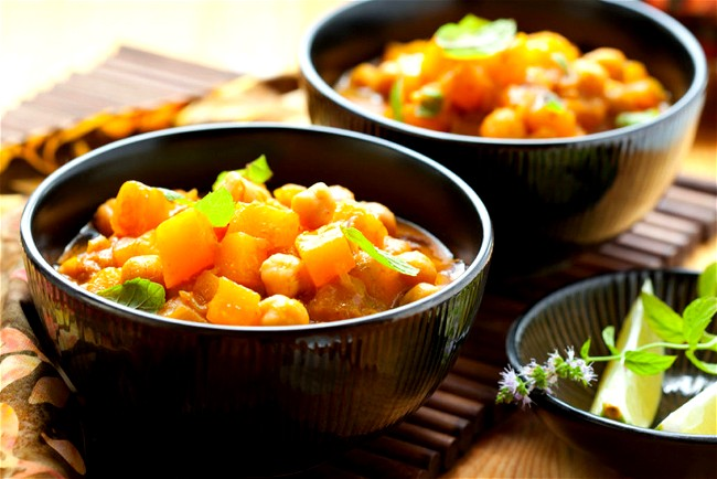 Image of Slow Cooked Goan Red Butternut Pumpkin, Sweet Corn, English Spinach, Button Mushrooms & Chick Peas
