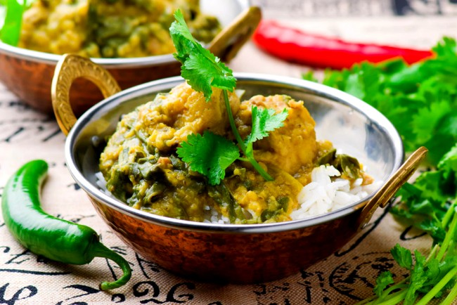 Image of Green Chicken with Lentils and Spinach