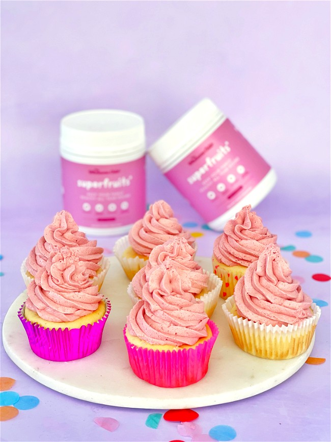 Image of Boosted Vanilla Protein+ Cupcakes with Superfruits+ Buttercream