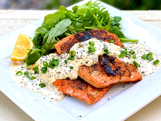 Image of Blackened Salmon with Lemon Caper Ailoi