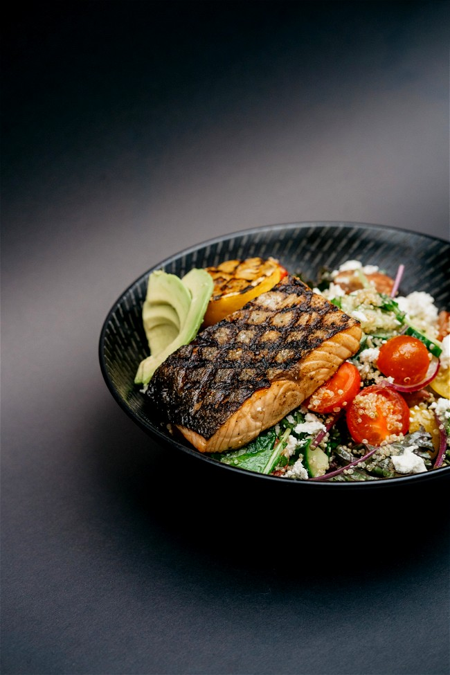 Image of Southwest Salmon Bowl (with Black Bean Mango Salsa)