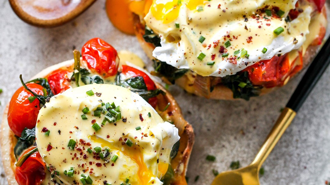 Image of Mediterranean Eggs Benedict with Tahini Hollandaise