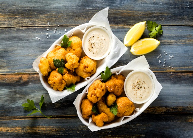 Image of Spiced Fried Cauliflower with Lime Pepper Dipping Sauce