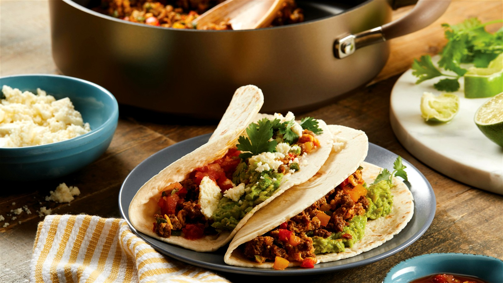 Image of  Spicy Stir-Fried Chorizo and Veggie Breakfast Tacos