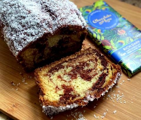Image of Lamington-Inspired Marble Loaf Cake
