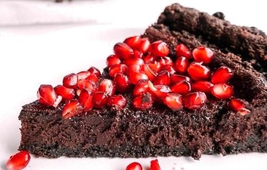 Image of Salted Dark Chocolate Pomegranate Tart