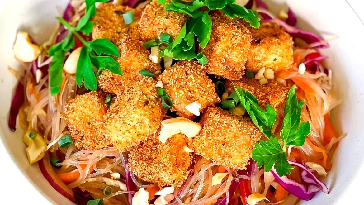 Image of Crispy Tofu Warm Noodle Salad