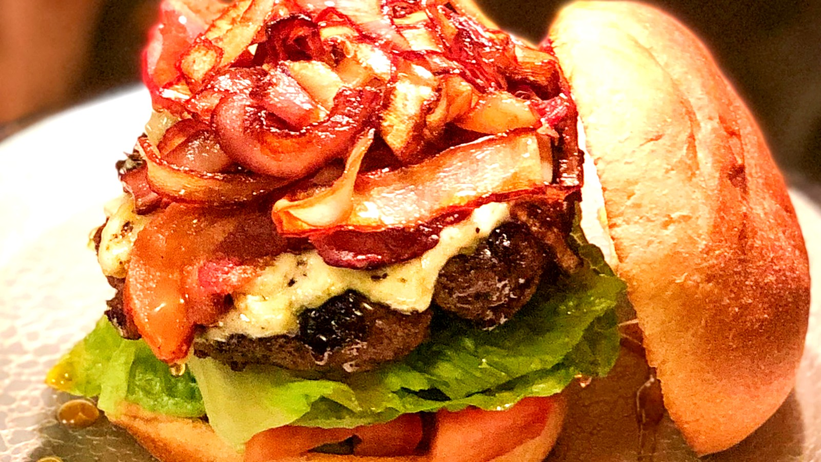 Image of Blue Cheese, Bacon and Spicy Honey Bison Burger