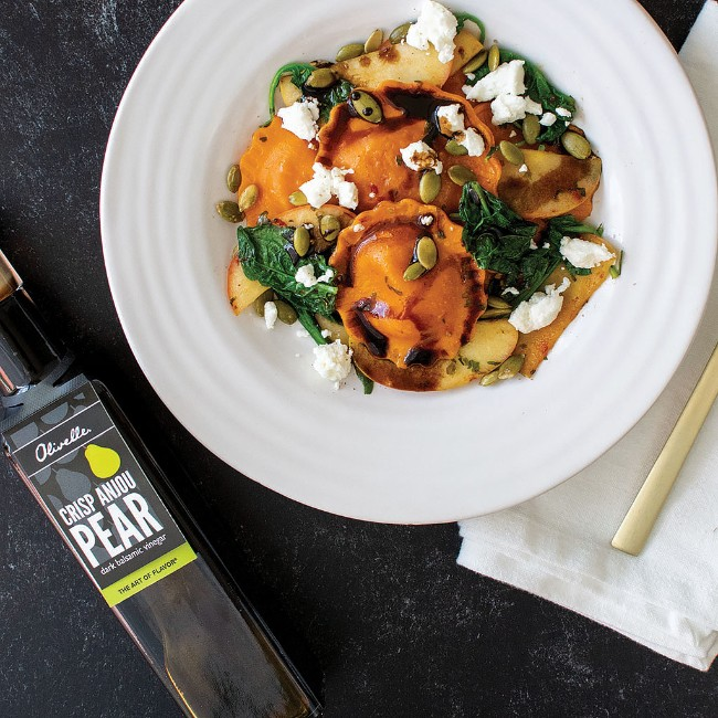 Image of SQUASH RAVIOLI WITH SAUTEED APPLES AND A PEAR BALSAMIC DRIZZLE