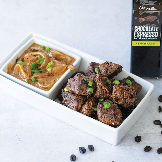 Image of COFFEE STEAK TIPS WITH CARAMELIZED ONION BALSAMIC WHISKEY CREAM SAUCE