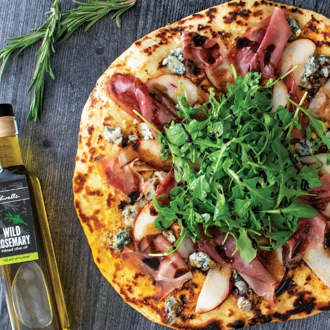 Image of GORGONZOLA, PEAR, & ROSEMARY GRILLED PIZZA