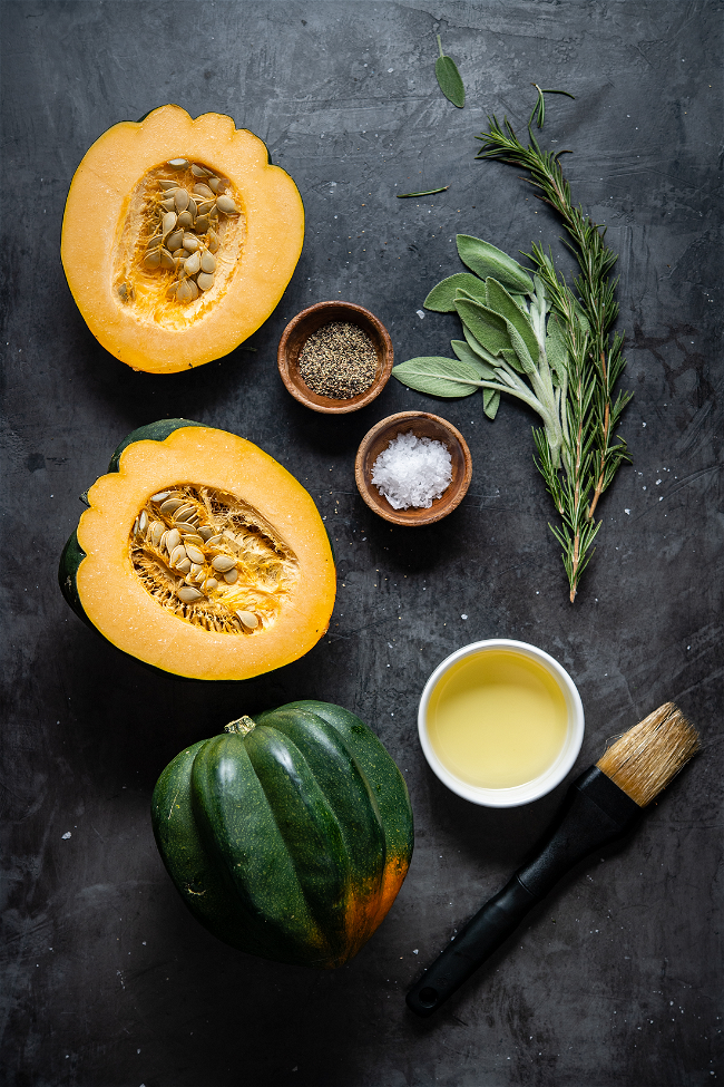 Image of Grilled Acorn Squash with Rosemary & Sage