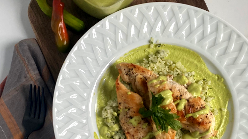 Image of Grilled Chicken with Poblano Pepper Cream Sauce
