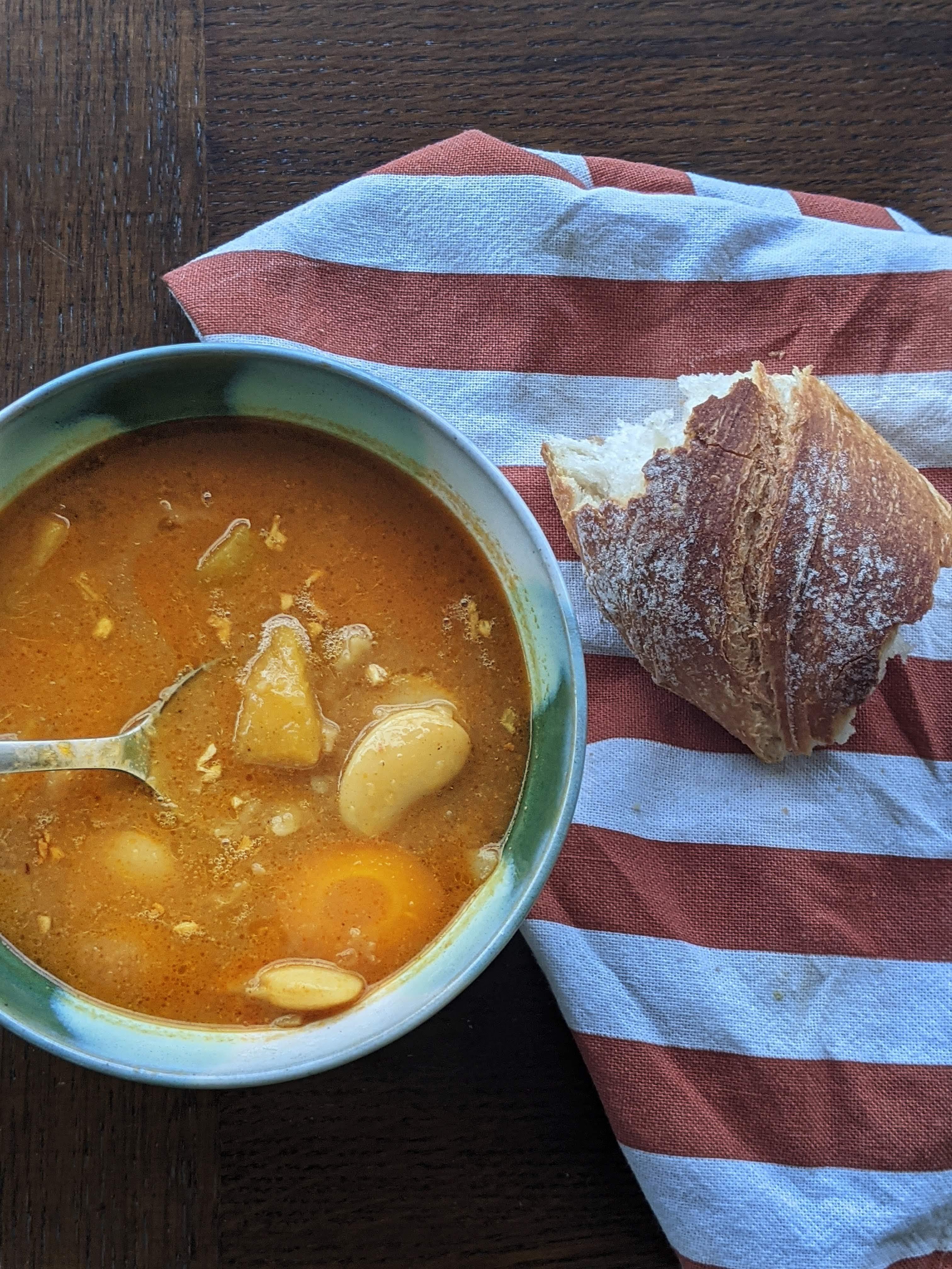 Image of Butternut squash - butter beans Sambar Stew