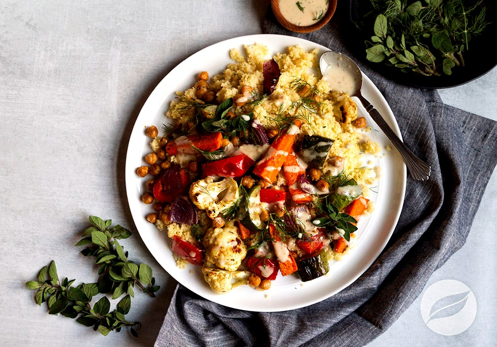 Image of Couscous with Roasted Veggies and Tahini Dressing