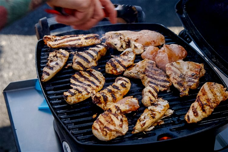 Image of On a hot grill, place chicken strips and cook each...