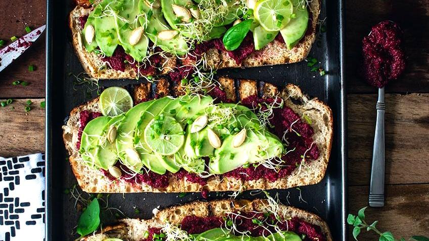 Image of Avocado & Beetroot Hummus Toast